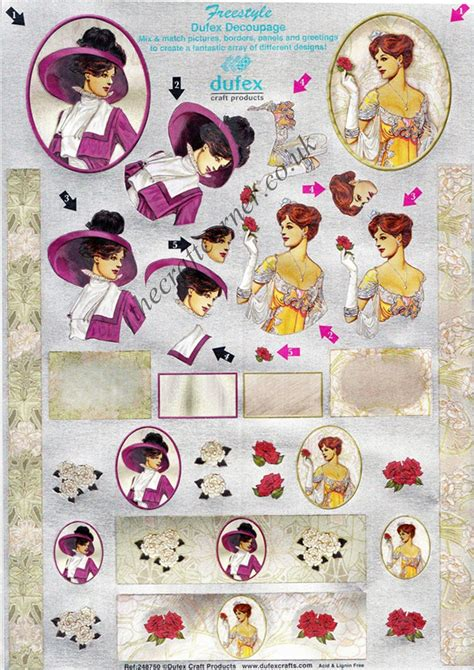 Die Cut Decoupage - edwardian freestyle 3d die cut decoupage sheet from