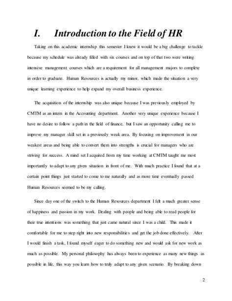 Internship Experience Report Essays hr intern experience essay