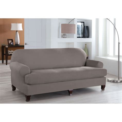 Stretch Fit Grey Two Piece T Cushion Sofa Slipcover Two Cushion Sofa Slipcover
