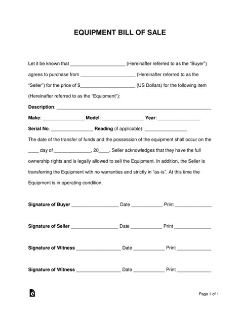 Free Equipment Bill Of Sale Form Word Pdf Eforms Free Fillable Forms Bill Of Sale Template Idaho