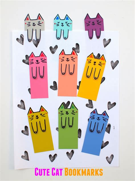 Easy Homemade Home Decor cute cat diy bookmarks from paint chips diycandy com