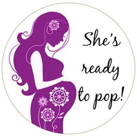 round she s ready to pop baby shower bag favour labels