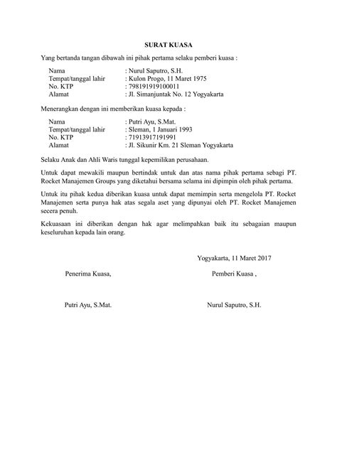 contoh format surat penurunan kuasa download contoh surat kuasa khusus yang benar