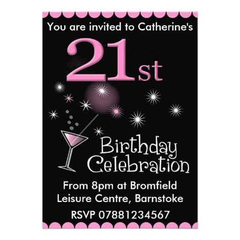 21st birthday invitation cocktail glass 5 quot x 7