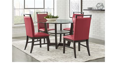 cappuccino dining room furniture collection ciara espresso dark brown 5 pc dining set glass top