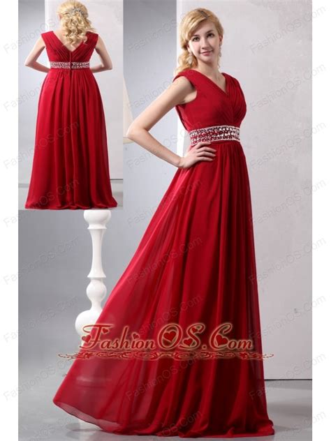 Modest Wine Red Empire V neck Plus Size Prom Dress Floor length Chiffon Beading