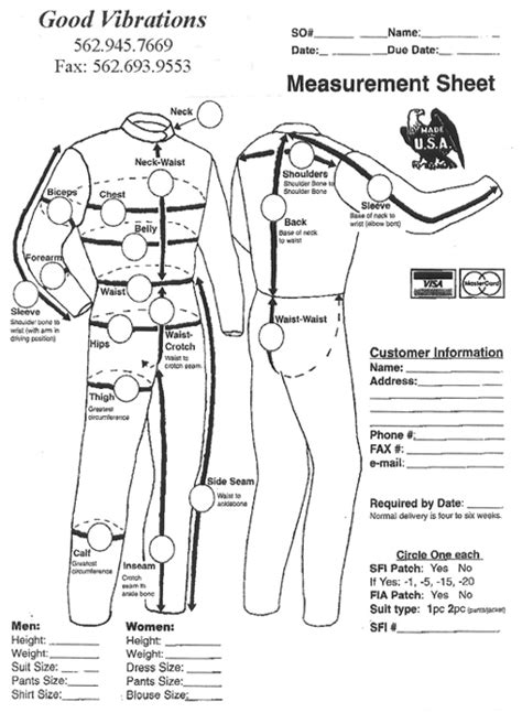 Driving Suit Measurements And Care Suit Measurements Template