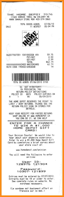 7 home depot receipt musician resume