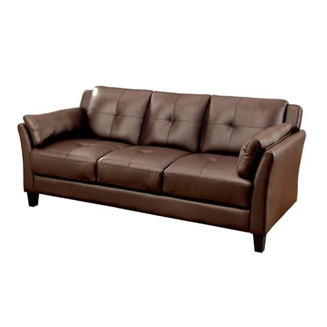 Furniture Of America Tonia Tufted Faux Leather Sofa In Tufted Faux Leather Sofa