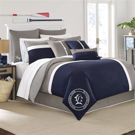 nice navy blue white king comforter set with reversible