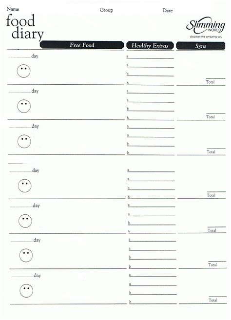 simple printable food journal weight watchers menu planner template invitation