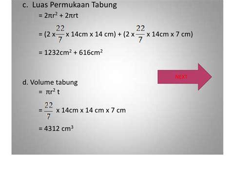 Tabung Dengan Ukuran Diameter 7 Tinggi 21 bangun ruang