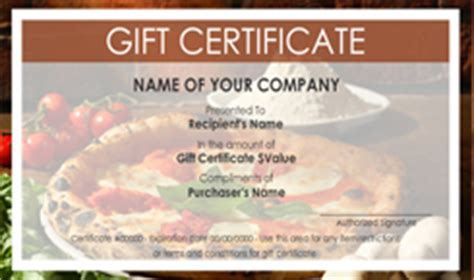 pizza gift certificate template pizza shop gift certificate templates easy to use gift