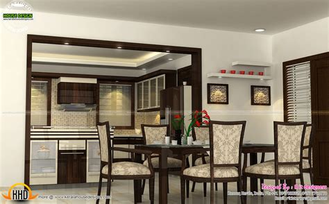 wash area dining kitchen interior kerala home design