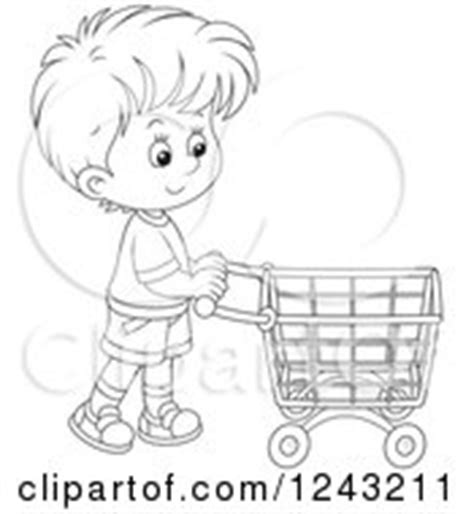 clipart of a caucasian boy pushing a shopping cart