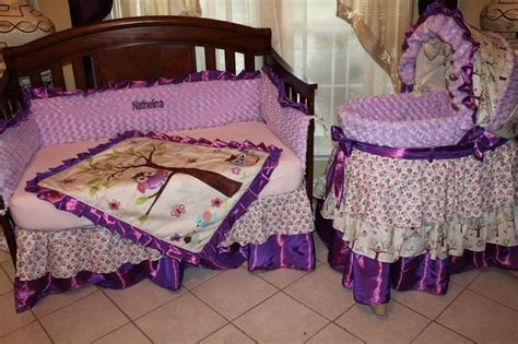 Purple Owl Crib Bedding Set And Bassinet Cover Baby Purple Owl Crib Bedding