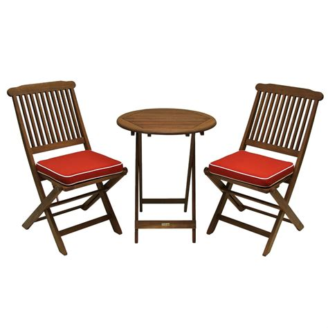 3 Piece Outdoor Patio Furniture Bistro Set with Red Seat