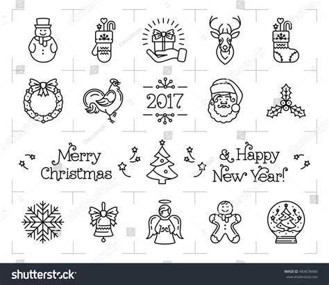 new year zodiac signs and elements icons set new year isolated stock vector