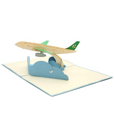luck card paper airplane template airplane kirigami card custom 3d card supplier charm pop