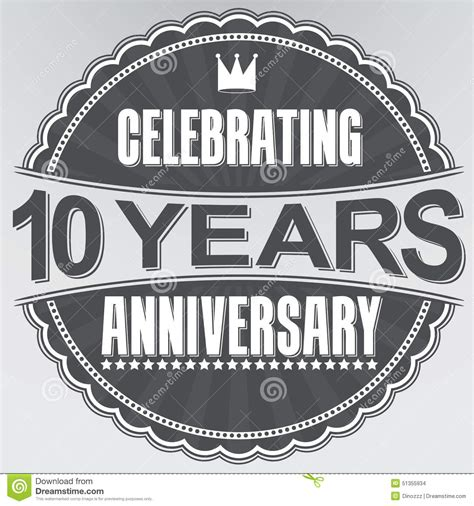 10 year anniversary color 10 years anniversary logo template with shadow on blue