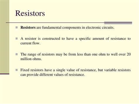 fixed resistor ppt ppt on types of resistors 28 images type of resistors ppt 28 images resistor colour code