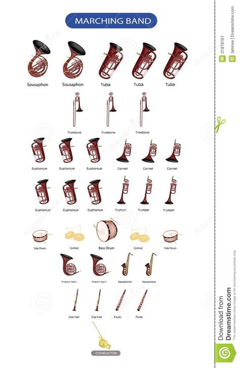 bands with a color in their name marching band instruments clipart clipart suggest