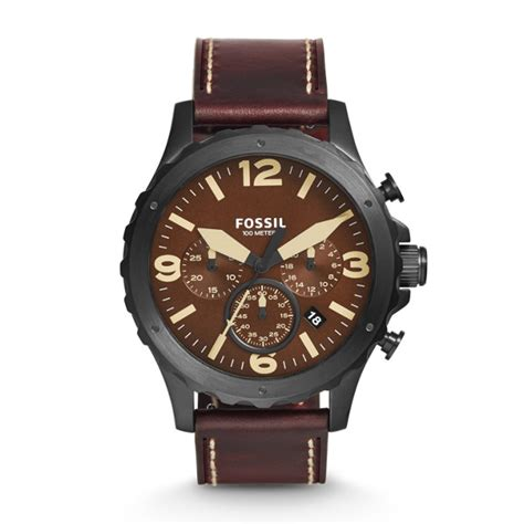 Fossil Nate Chronograph Luggage Leather Set Jr1524 nate chronograph brown leather fossil