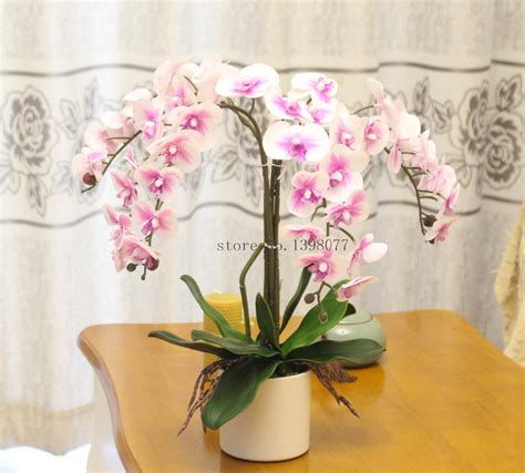 One Set Flower 1set flower vase artificial orchid flower arrangement bonsai real touch flower silicon orchid