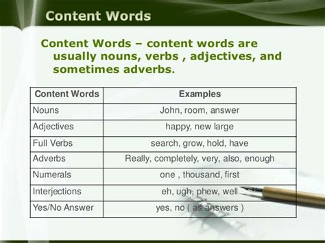 content function words and stressing words