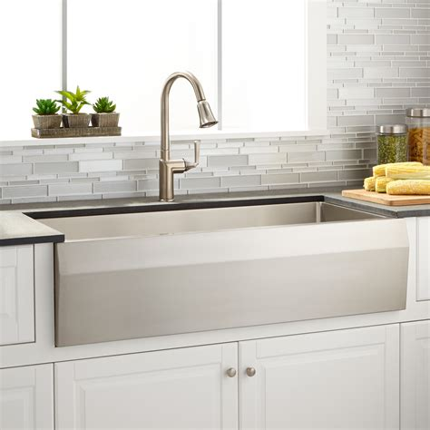 Stainless Steel Farmhouse Kitchen Sink Signature Hardware 39 Quot Optimum Stainless Steel Farmhouse Sink With Angled Apron