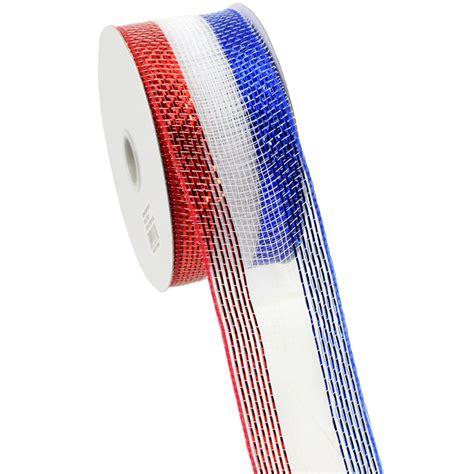 Flat Ribbon Salem 2 5 quot poly mesh ribbon metallic white blue stripe
