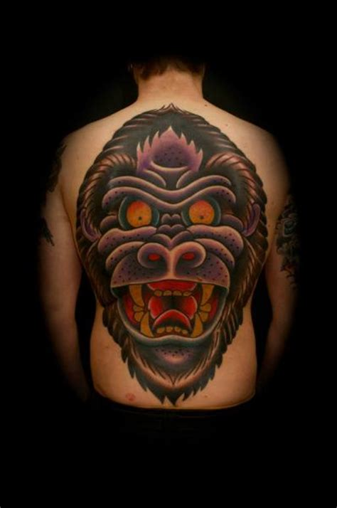 tattoo old school monkey old school back gorilla tattoo by the sailors grave