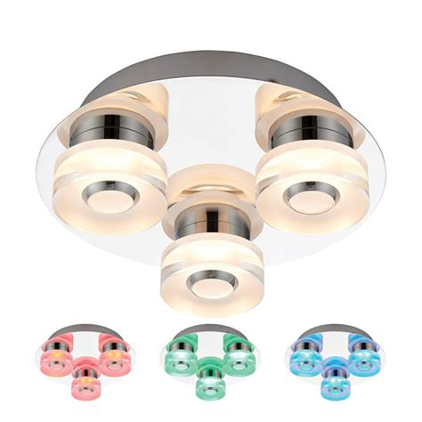 Colour Changing Bathroom Lights 3 Light Colour Changing Rgb Led Ceiling Light