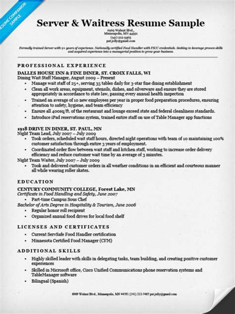 Resume For A Server by Server Waitress Resume Sle Resume Companion