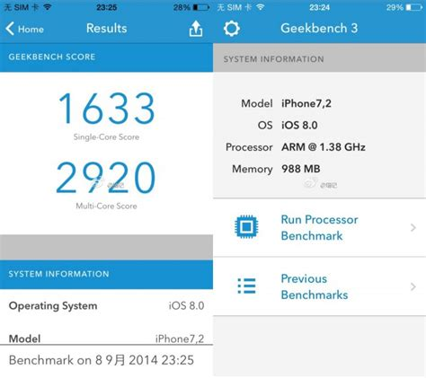 alleged iphone 6 geekbench results reveal 1 4 ghz dual a8 chip 1 gb of ram macrumors