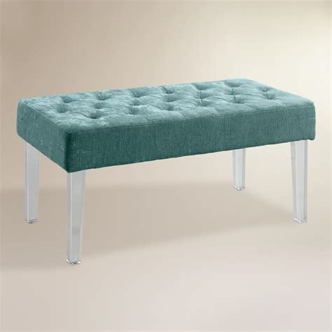 Cost Plus Ottoman Cost Plus World Market Turquoise Velvet Acrylic Leg Ottoman Fabric By World Market Shop Your