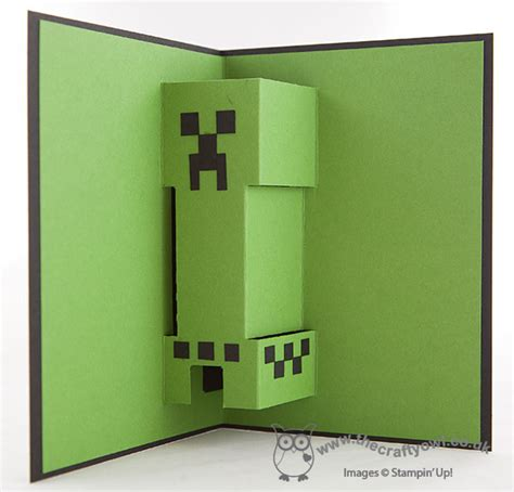 the crafty owl minecraft creeper pop up birthday card