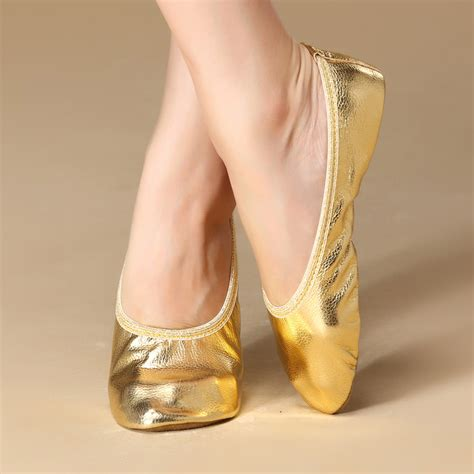 pointe flats shoes wholesale belly practice silver gold flats soft