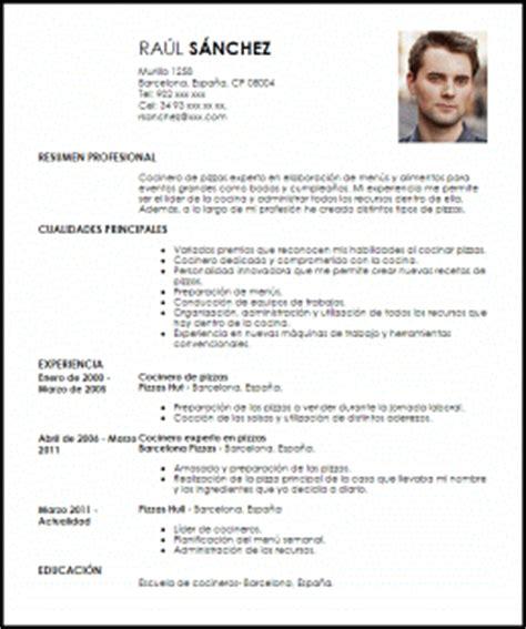 Plantilla De Curriculum Para Cocinero Modelo Curriculum Vitae Cocinero De Pizzas Livecareer
