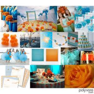 Wedding invitation that features teal and orange as their colors