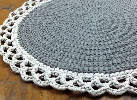 pattern crochet rug crochet rug round rug cotton rug knitted rug gray by