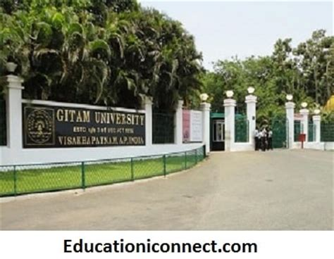 Gitam Vizag Mba Fee Structure by Gandhi Institute Of Technology And Management Gitam Fee