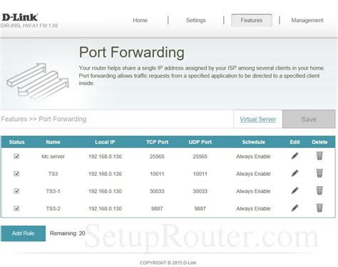 Dlink DIR-895L Screenshot PortForwarding D'link Router Password Setup