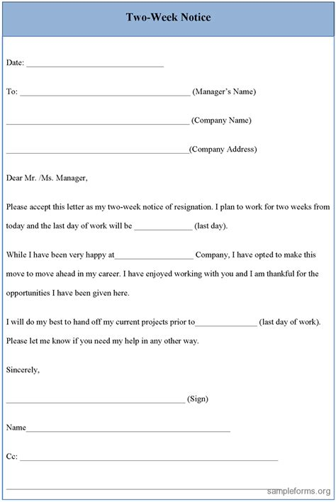 2 week notice form two suitable addition top resignation letter