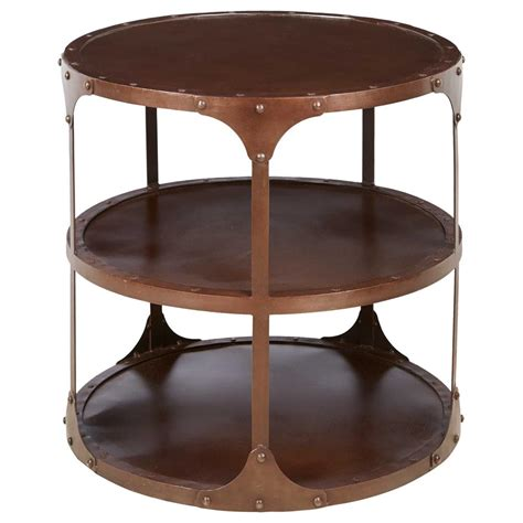 3 tier side table alfons industrial loft round 3 tier metal side table