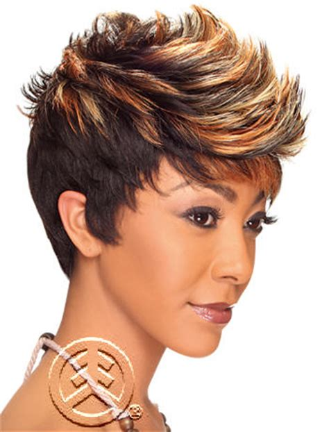 short spikey wigs for black women hollywood sis remy fiber synthetic wig dream high