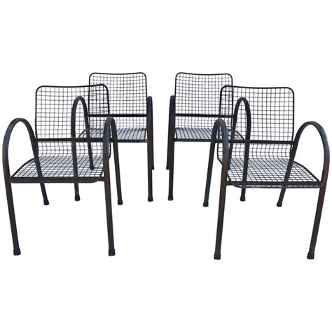 Mesh Patio Chairs Four Patio Wrought Iron Mesh Arm Chairs For Sale At 1stdibs