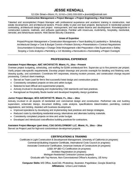 Project Manager Resume Objectives by Project Manager Resume Objective Exles The Best Letter Sle