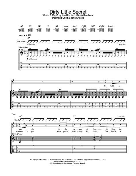 secret guitar tab secret guitar tab by bon jovi guitar tab