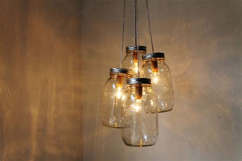 Handcrafted Lighting - clean jar chandelier 4 quart jars handcrafted